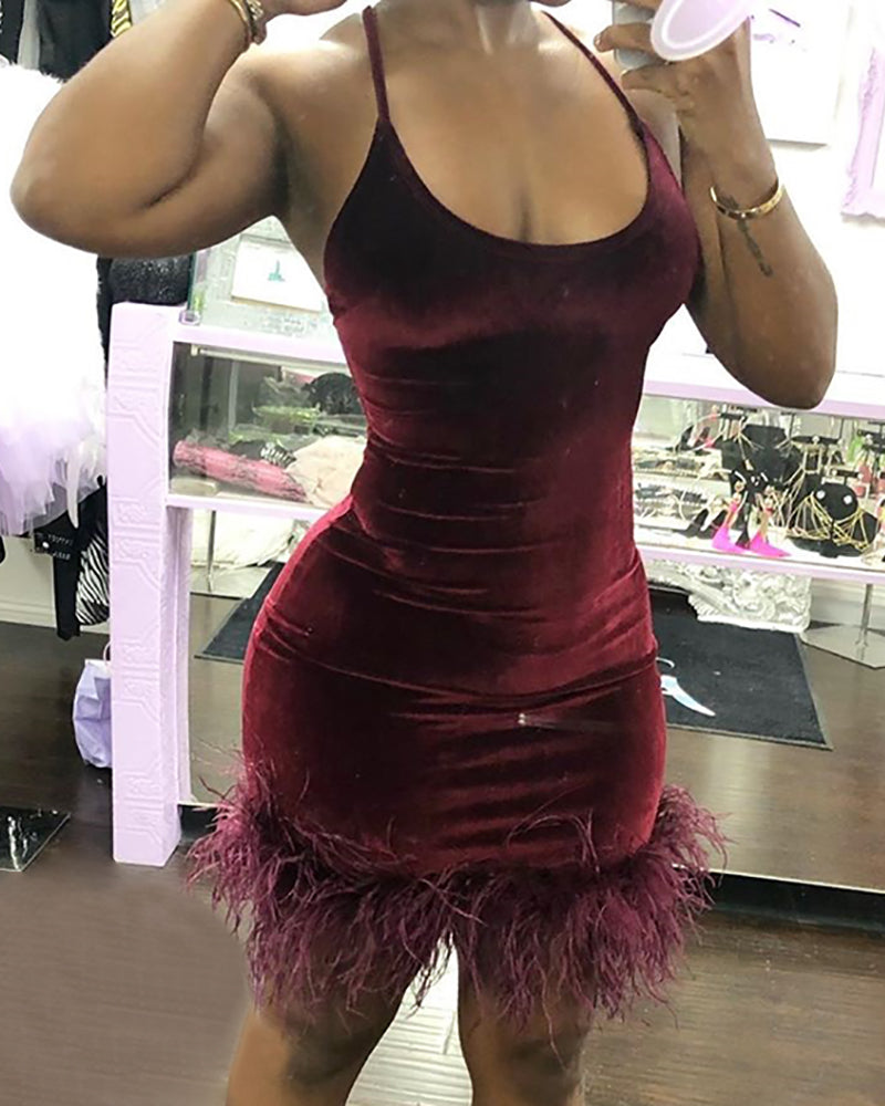 Solid Spaghetti Strap Feather Insert Ruched Bodycon Dress
