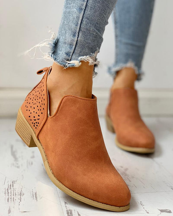 Solid PU Eyelet Hollow Out Chunky Heeled Boots