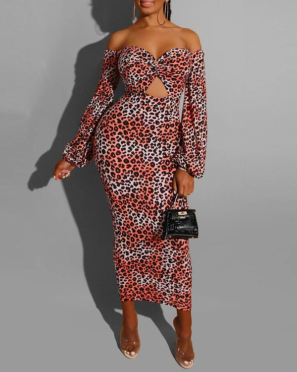 Off Shoulder Leopard Lantern Sleeve Cut Out Dress