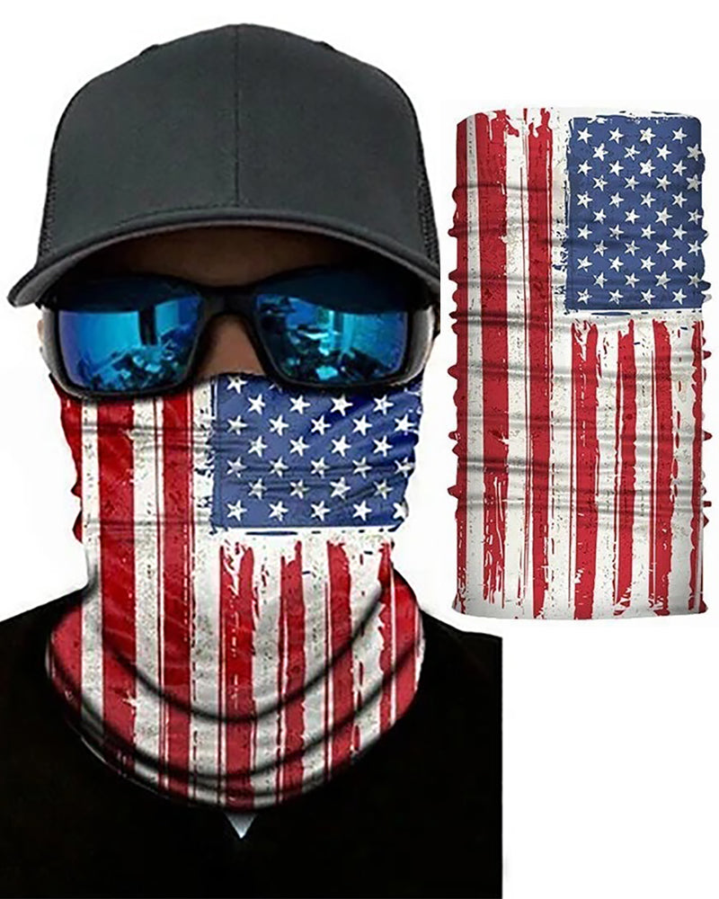 American Flag Print Breathable Face Bandana Magic Scarf Headwrap Balaclava