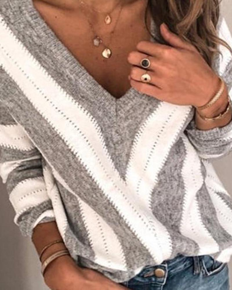 V Neck Strped Long Sleeve Top