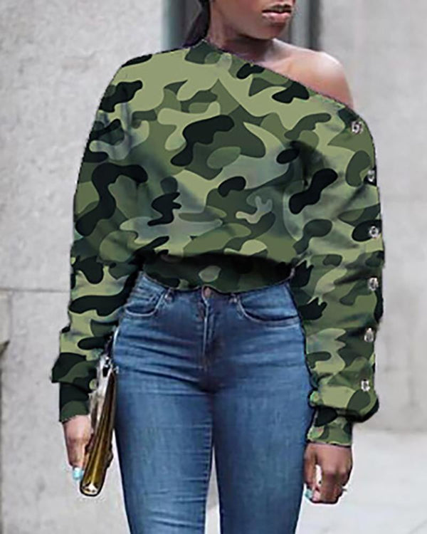 Skew Neck Camouflage Long Sleeve Buttoned Blouse