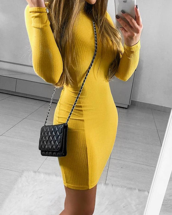 Solid Cut Out Back Bodycon Dress