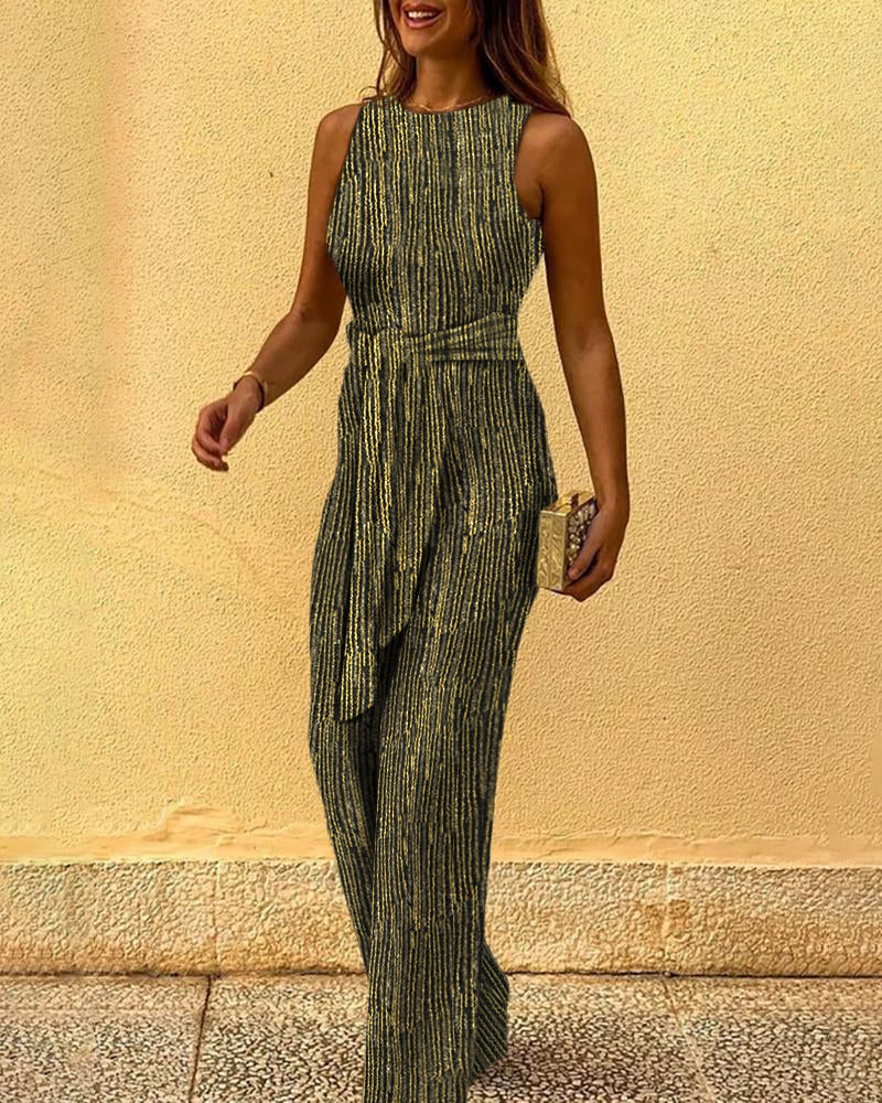 Glitter Round Neck Sleeveless Jumpsuit