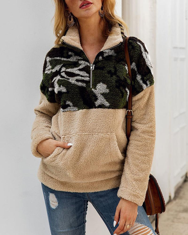 Camouflage Zipper Colorblock Insert Fluffy Sweatshirt