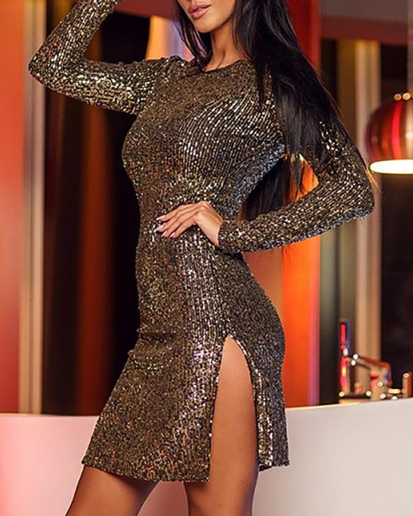 Sequins Long Sleeve Slit Dress