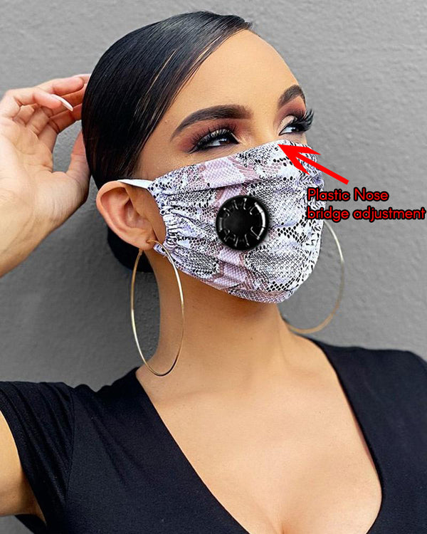 Snakeskin Print Breathing Washable Valve Face M .a. s. k (2 filters as gift)