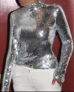 Glitter Mock Neck Long Sleeve Sequins Blouse