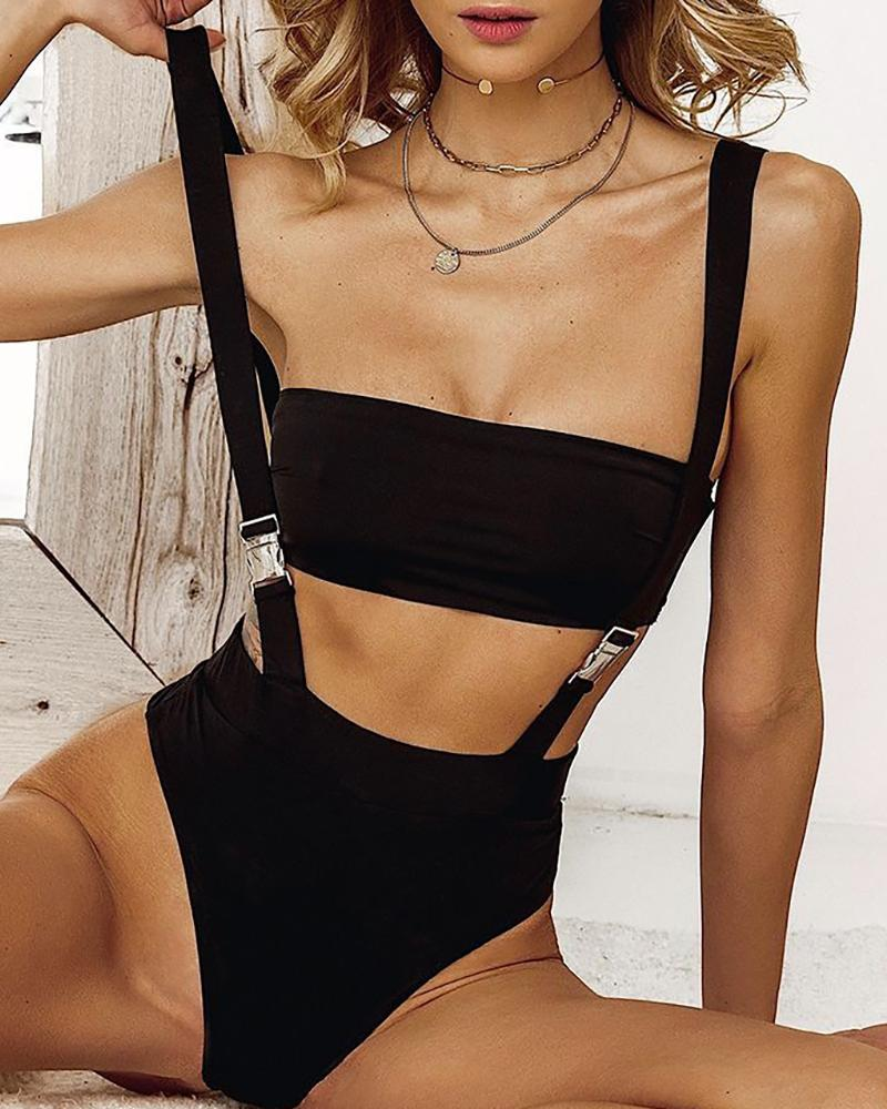 Minimal Shoulder Straps Push Buckle One-Piece Swimwear