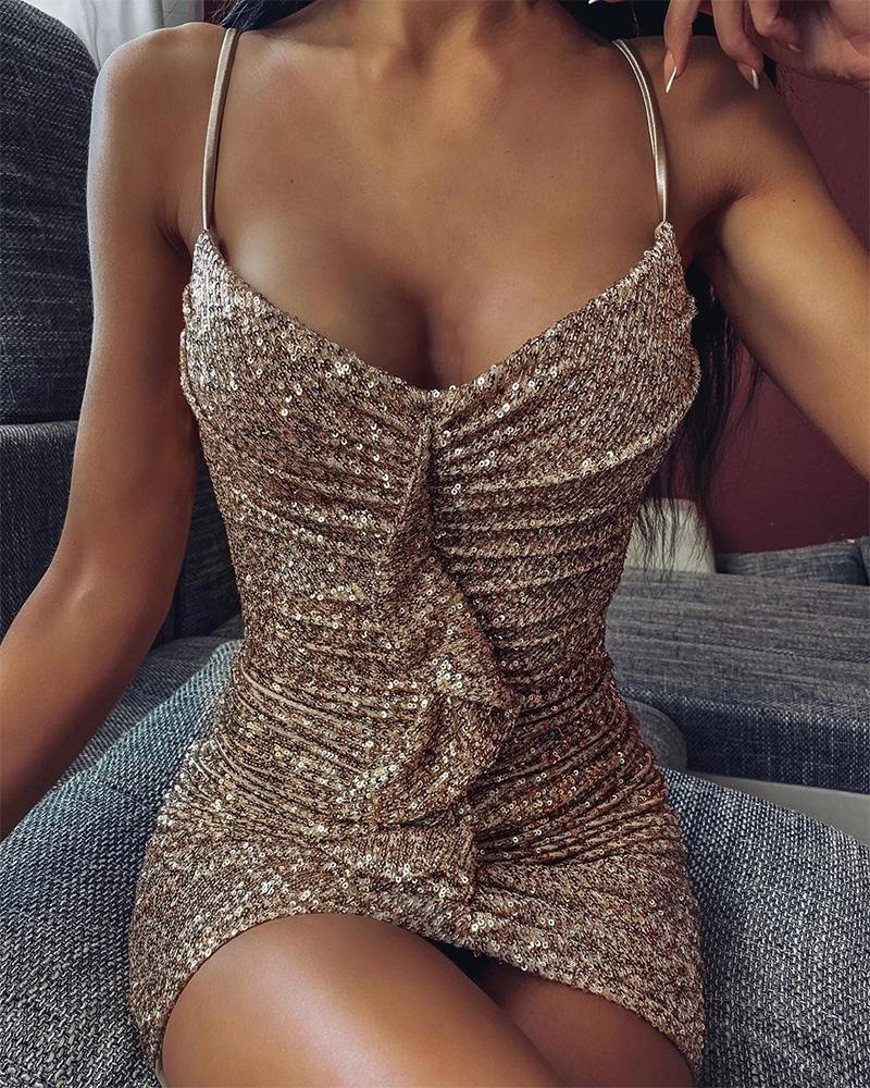 Sequined Ruffle Detail Slip Dress