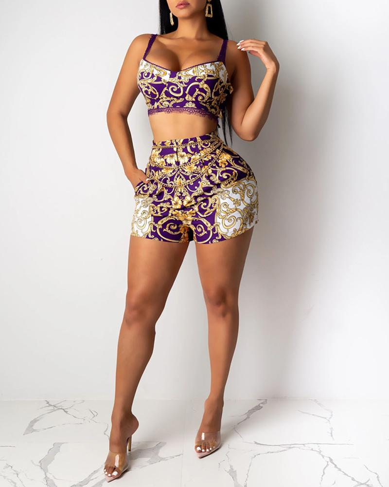 Lace Retro Print Spaghetti Strap Crop Top & Short Sets