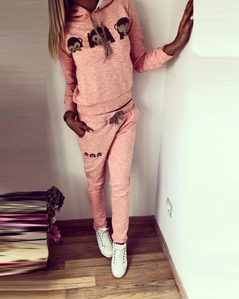 Monkey Print Hooded Pullover Tracksuit 1