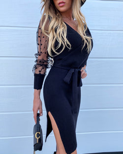V-Neck Polka Dot Mesh Insert Long Sleeve Bodycon Dress