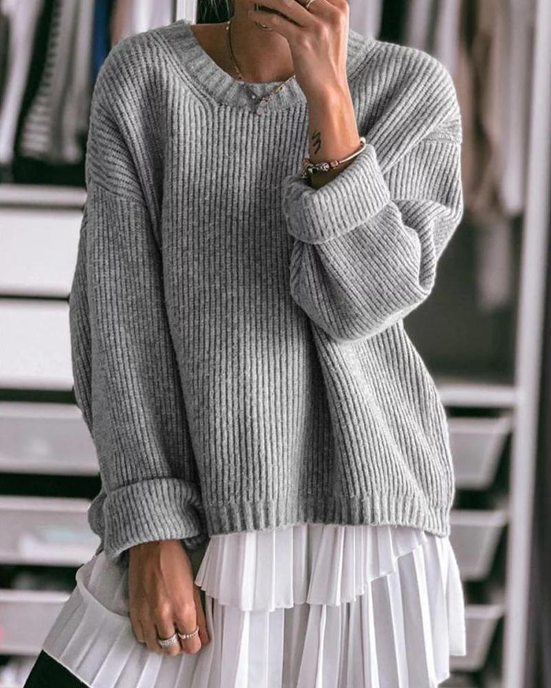 Boat Neck Ribbed Knit Sweater