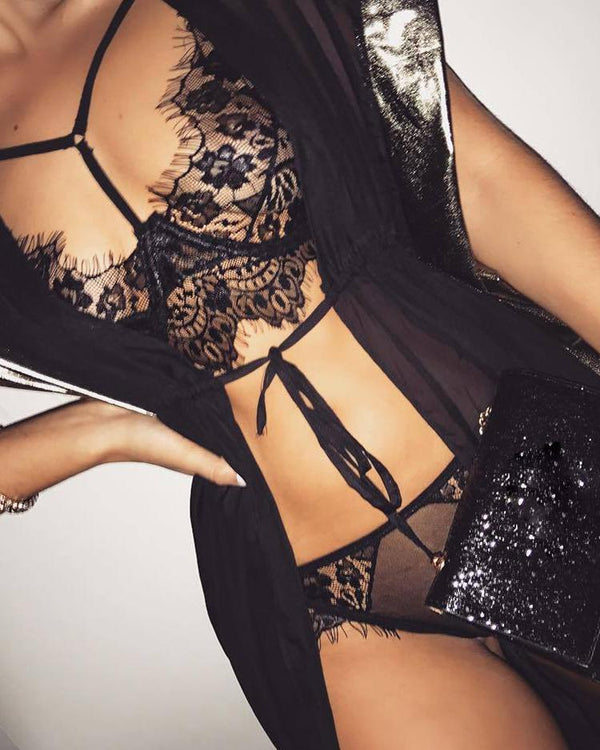 See Through Eyelash Lace Lingerie Sets