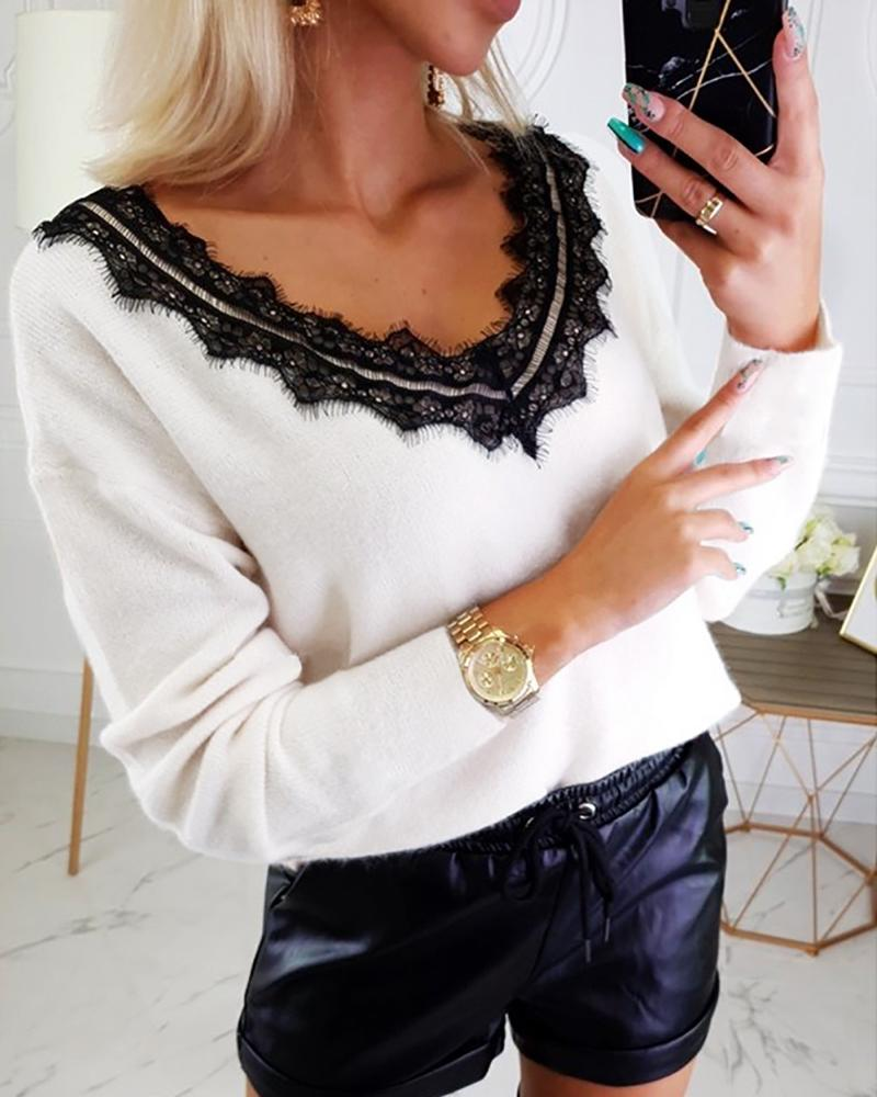 Solid Patchwork Lace Backless Blouse