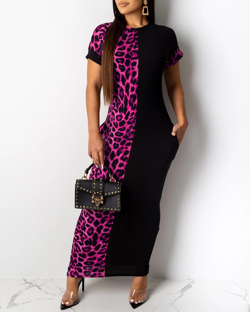 Leopard Patchwork Short Sleeve Dress