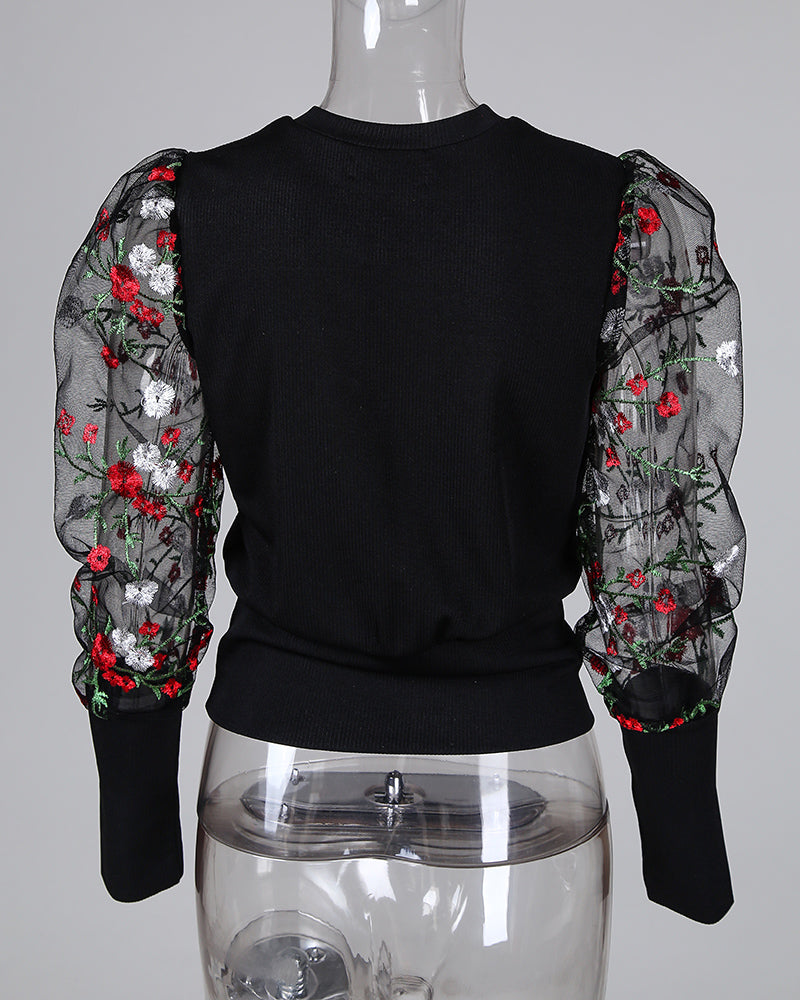 Floral Embroidery Patchwork Mesh Sleeve Blouse