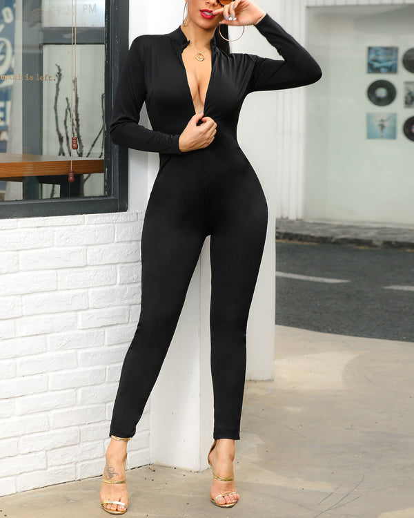 Cut Out Front Zipper Jumpsuit