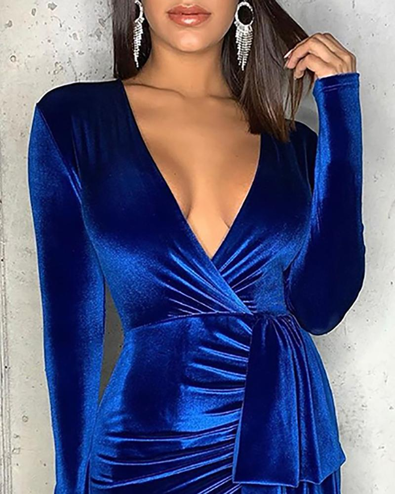V-Neck Drape Ruched Bodycon Dress