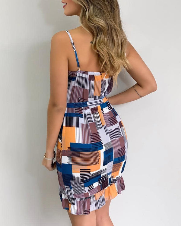Print Sleeveless Sling Bodycon Dress