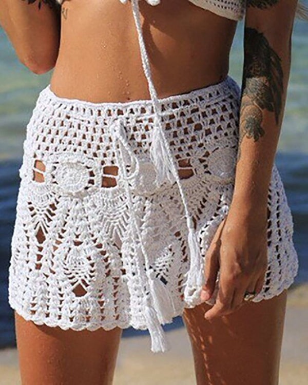 Hollow Out Knitted Mini Skirt