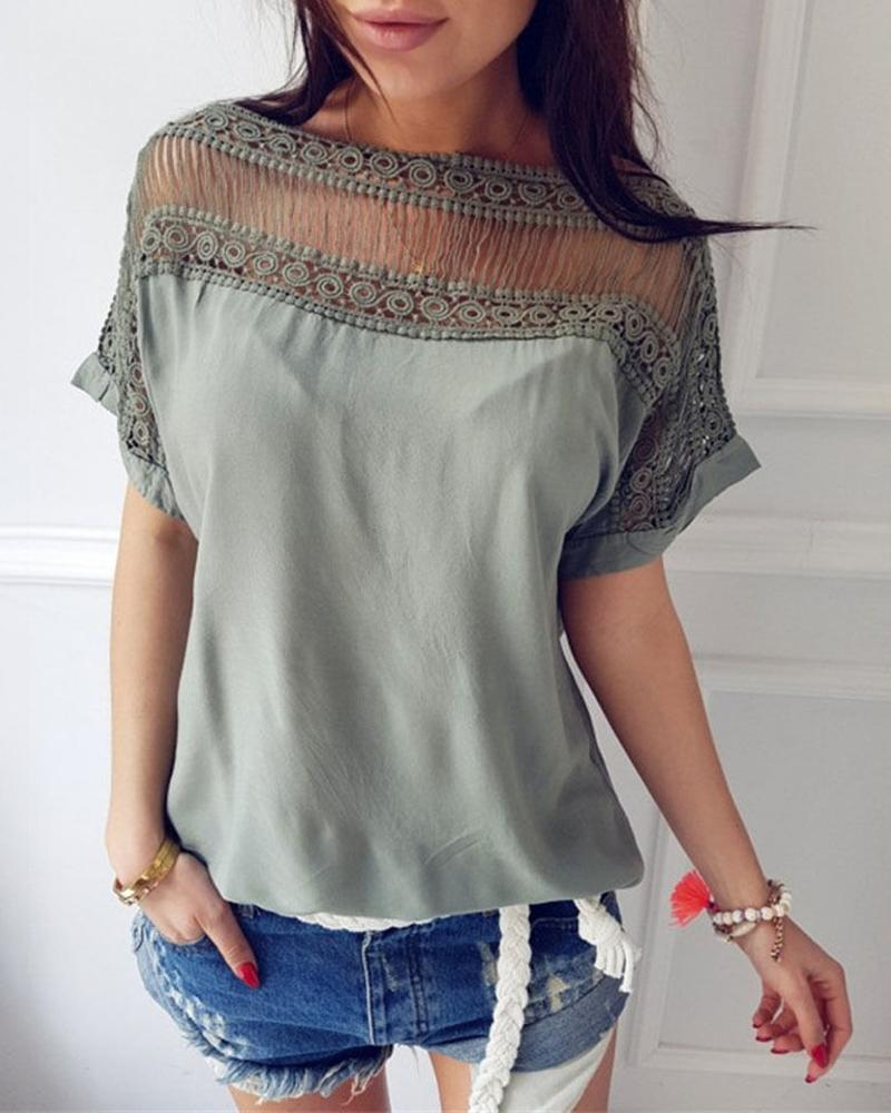 Casual Short Sleeve Hollow Out Blouse