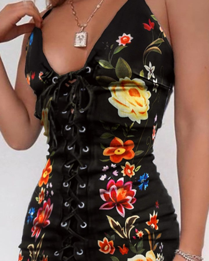 Floral Print Eyelet Lace-up Dress
