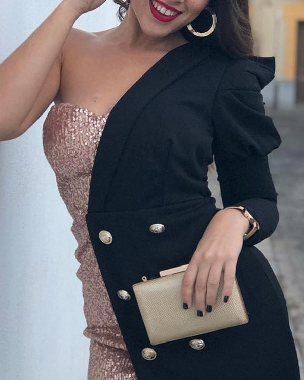 One Shoulder Sequined Blazer Dress