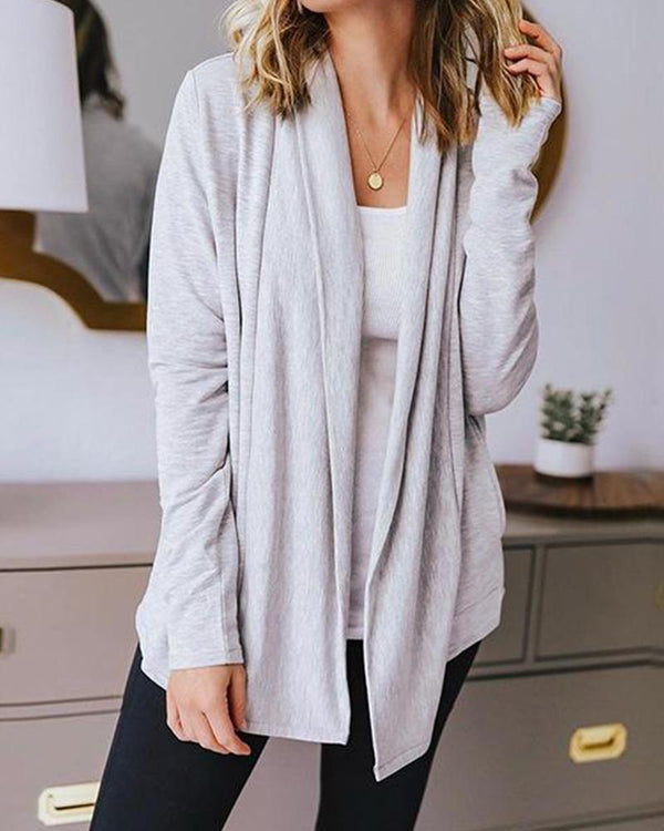 Solid Pocketed Open Front Knit Cardigan