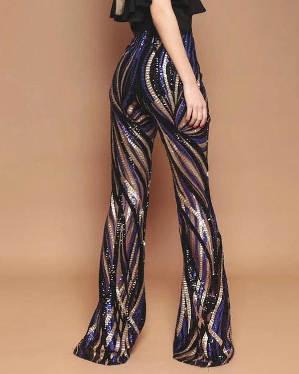Glitter High Waist Bell-bottomed Colorblock Striped Sequins Pants