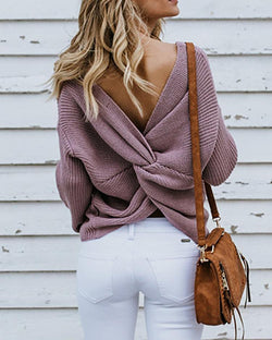 Solid Crisscross Open Back Sweater