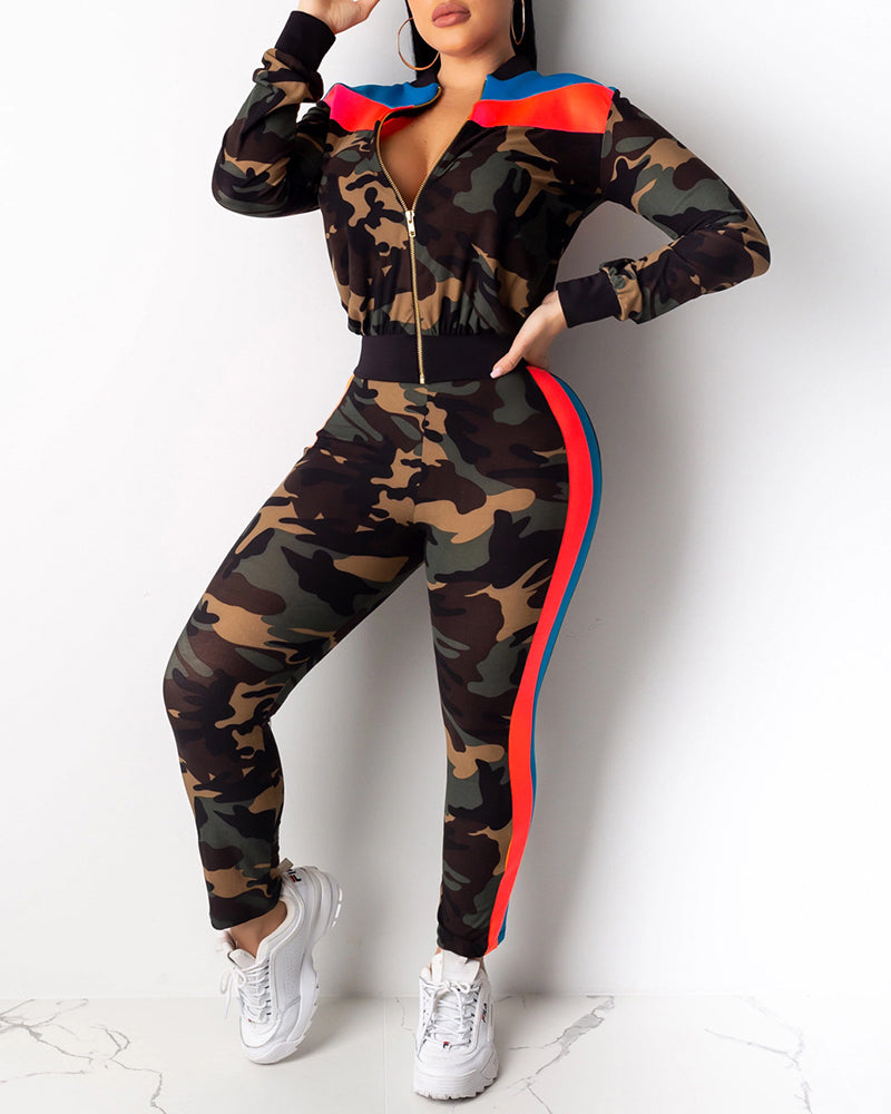 Camouflage Colorblock Zipped Top & Pencil Pant Sets
