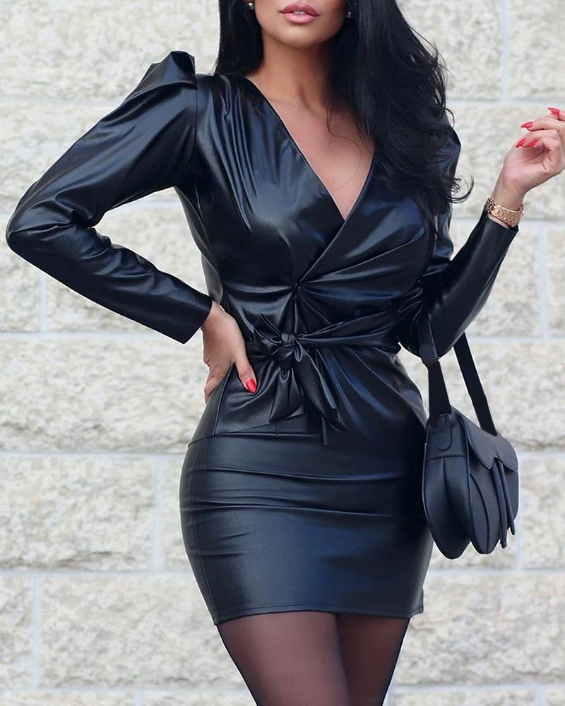 Deep V PU Bodycon Dress