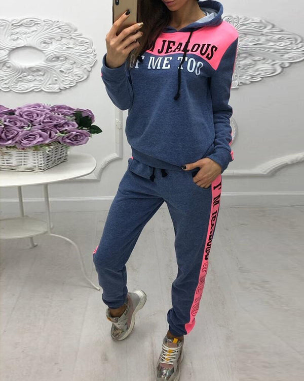 Hooded Colorblock Insert Letter Print Drawstring Sweatshirt & Pants Sets