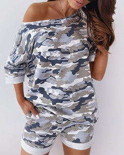 Camouflage One Shoulder Top & Pocket Design Short Set