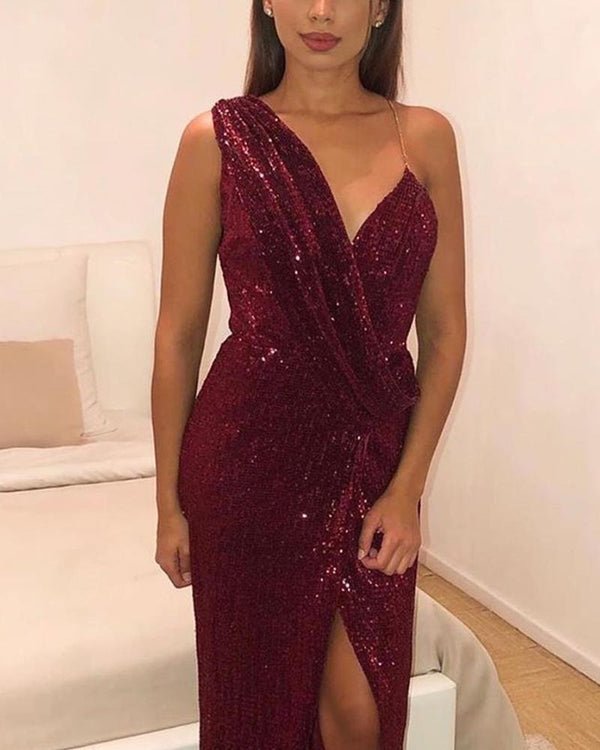 One Shoulder Sequined Maxi Dress