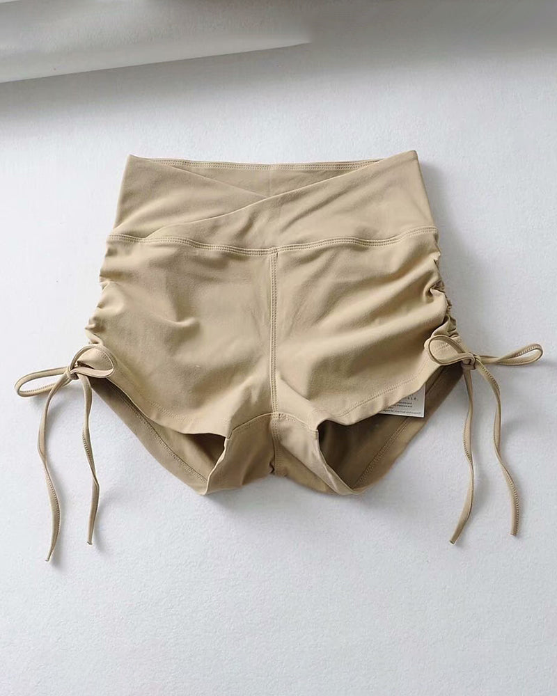 Ruched Tied Detail Solid Sporty Short