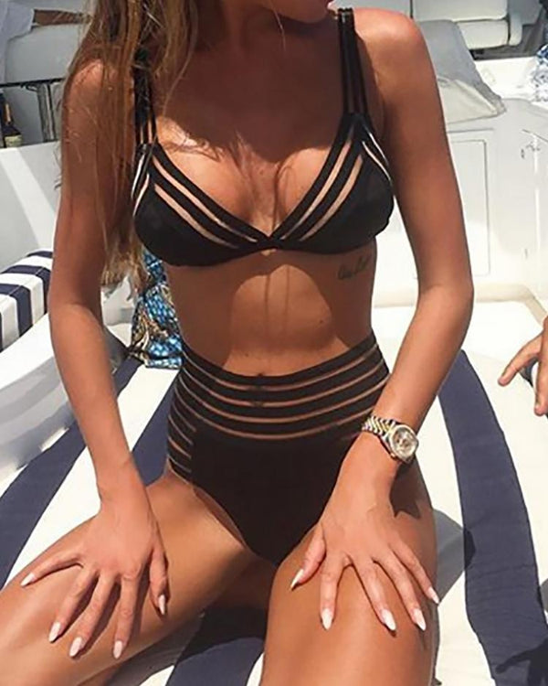 Mesh Patchwork High Waist Bikini Swimsuit