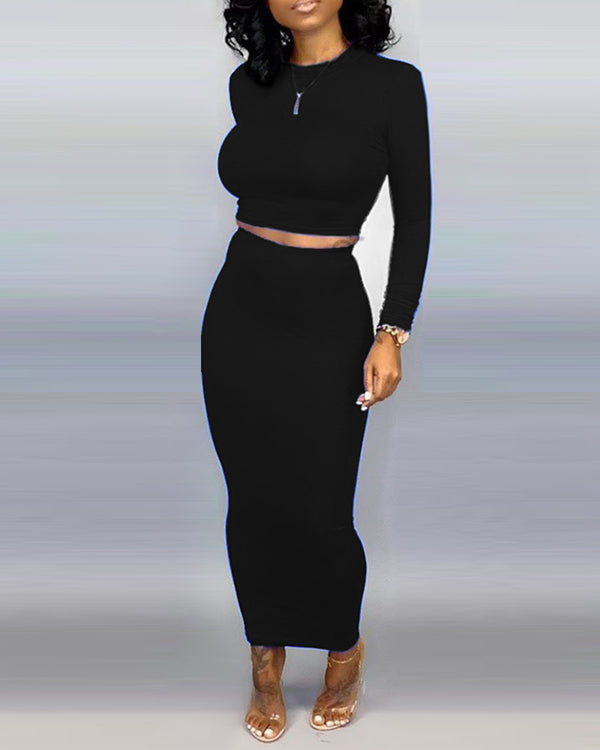 Solid Round Neck Crop Top & Skirt Sets