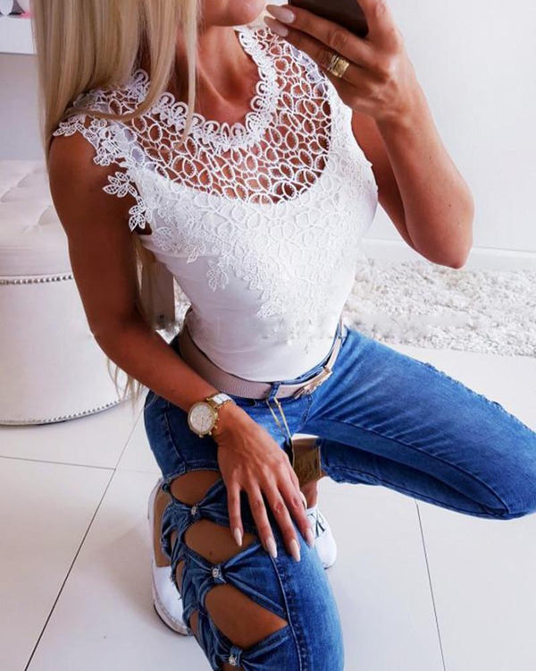 Lace Trim Slim Fit Top