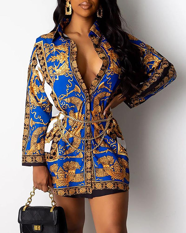 Turn-down Collar Retro Print Buttoned Shirt Dress