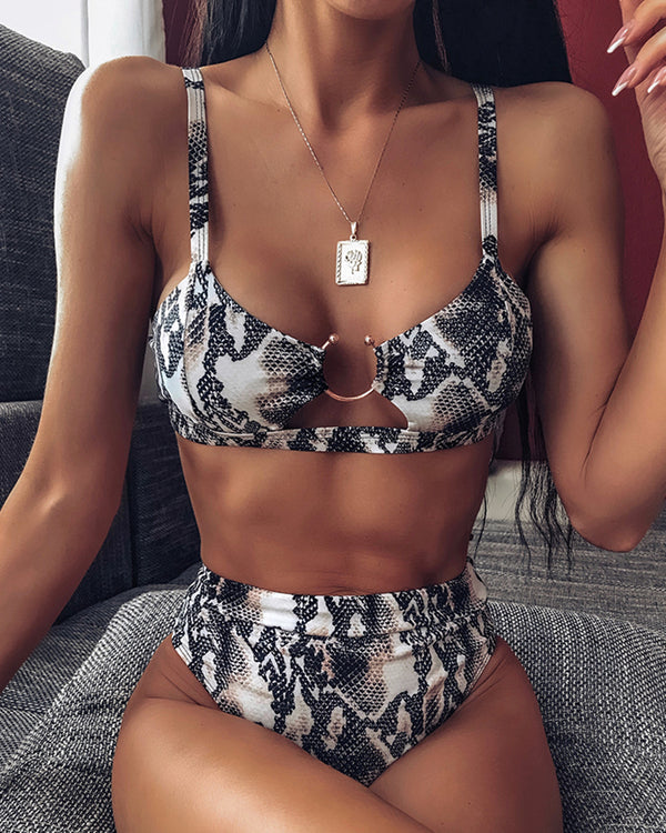 Ring Design High Waist Bikini Set