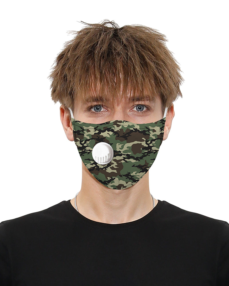 Camouflage Print Breathing Washable Valve Face Mask (2 filters as gift) Without Cord Lock Toggles