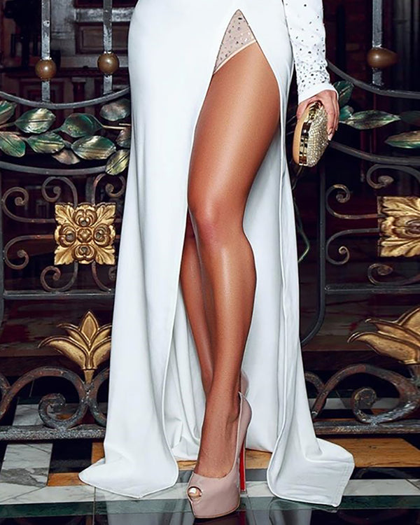 Hot Stamping Plunge Long Sleeve High Slit Dress
