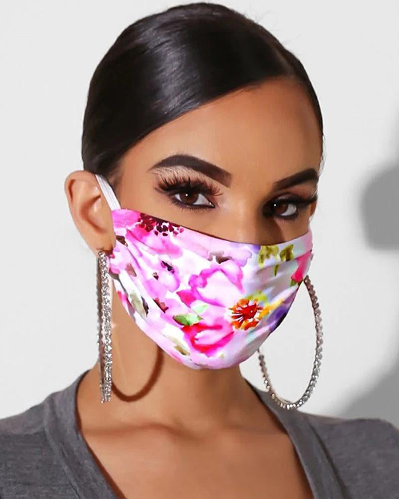 Floral Print Breathable Mouth Mask Washable And Reusable Without Cord Lock Toggles