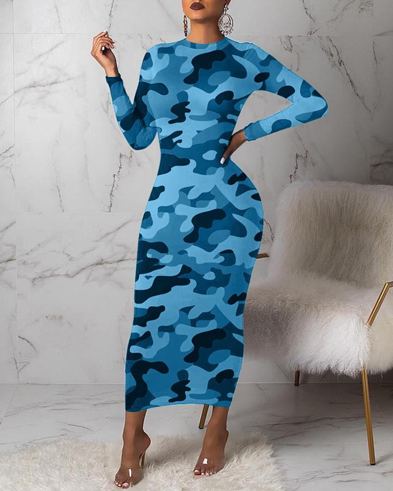 Camouflage Round Neck Long Sleeve Dress