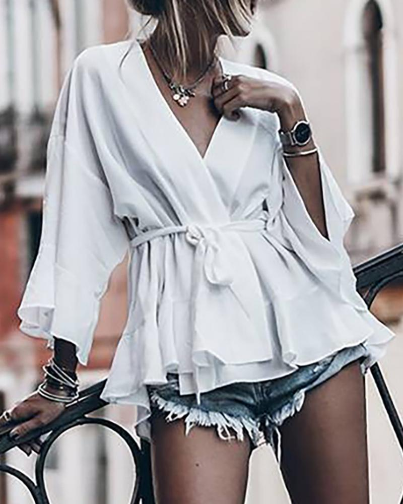 Solid Tied Waist Bell Sleeve Blouse