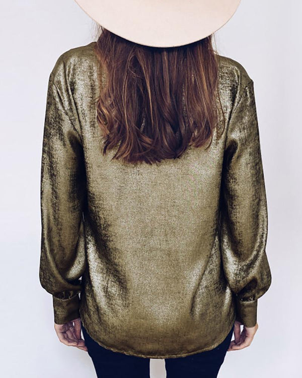 Glitter V Neck Long Sleeve Blouse