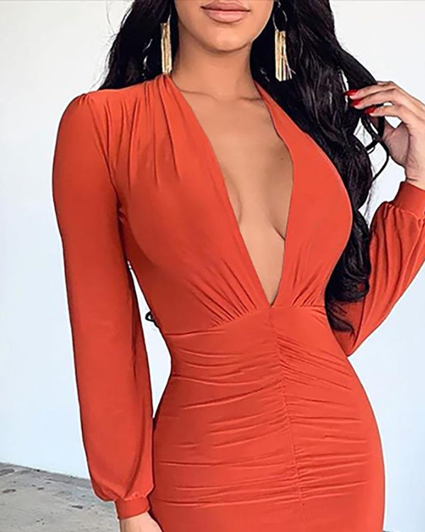 Solid Deep V Ruched Slit Dress
